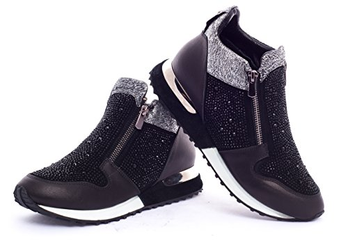 Women's Fashion Rhinestone Black Collection Victoria Sneakers BOBERCK vRqAWZxEwq