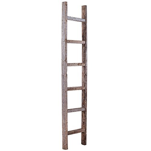 BarnwoodUSA Rustic 6 Foot Decorative Ladder - 100% Reclaimed Wood, Weathered Gray
