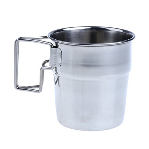 MagiDeal 4pcs Pack Stainless Steel Water Cups Outdoor Camping Coffee Mug with Folding Handle for Outdoors by Unknown (Image #8)
