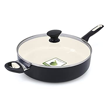 GreenPan Rio Ceramic Non-Stick Covered Skillet with Helper Handle, 5 quart, Black
