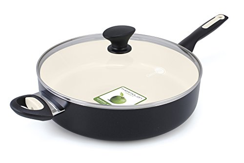 Non Stick Covered Skillet (GreenPan Rio 5QT Ceramic Non-Stick Covered Skillet with Helper Handle, Black)