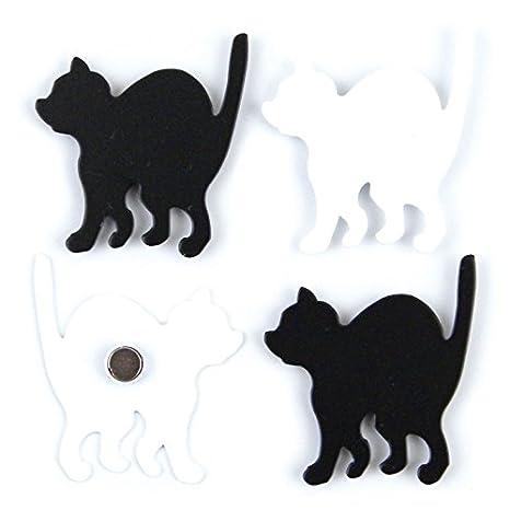 banjado - Imanes con diseño de gatos Juego de 4 Diseño Frigorífico Imanes tablón Deko - Pizarra de pared: Amazon.es: Hogar