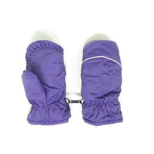 Magg Kids Toddlers Fleece Lined Winter Snow Glove Waterproof Assorted Solid Color 2-4T Mittens (Purple)