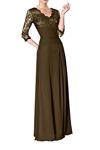 Glamour Jugendweihe Spitze mia Formal Kleider La Brau Braun Ballkleider Lang Abendkleider Festlichkleider Langarm Brautmutterkleider E6qAggW1wx