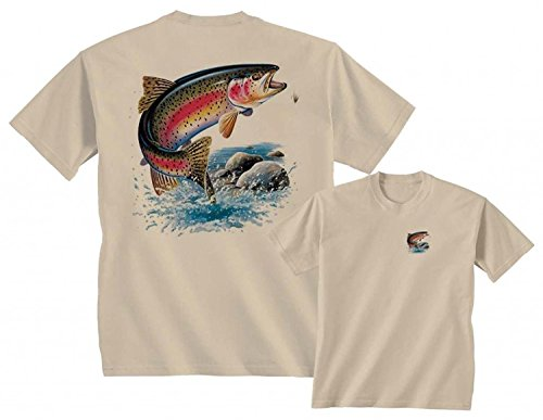- RAINBOW TROUT LURE FRESHWATER FISH LAKE FISHING RIVER T-SHIRT, Sand, M