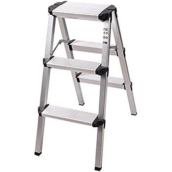 Redcamp Aluminum Folding Step Ladder 3 Step Sturdy Heavy