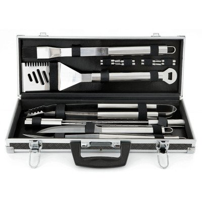 Mr. Bar-B-Q 18 Piece Tool Set Tire Track Case - Stainless Steel