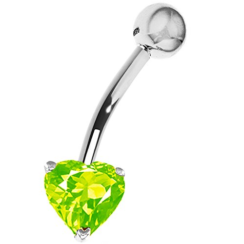 Ritastephens 14k Solid White Gold Genuine Peridot Heart Belly Button Navel Ring Body Art