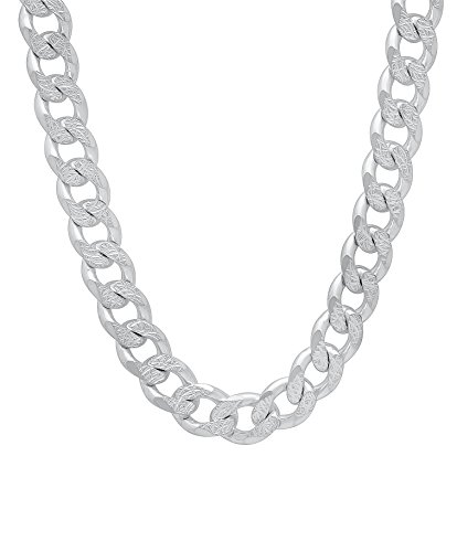 - Designer Inspired 8mm Thick Silver Curb Chain Necklace Sterling 925 24