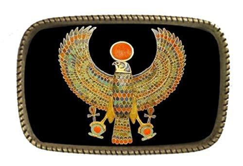 (Ancient Egyptian Hieroglyphics Thunderbird Brass Belt Buckle Made In The USA)