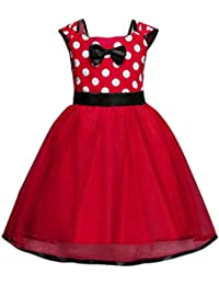 Minnie Mouse Dress Girls Dot Print Bridesmaid Princess Tutu Birthday Party Dress