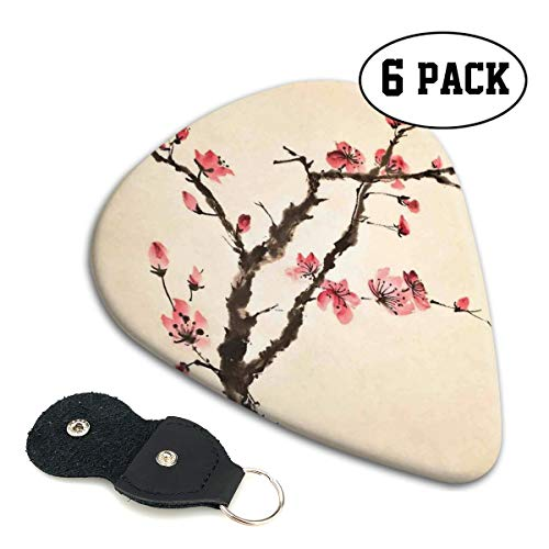 Guitar Picks 6 pcs,Traditional Chinese Paint Of Figural Tree With Details Brushstroke Effects Print