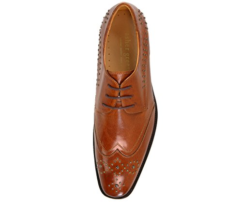 Asher Grønne Menns Ekte Skinn Wingtip Kjole Sko, Metall Studded Blonder-up Oxford, Stil Ag987 Cognac