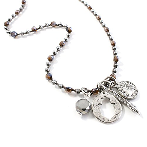 ISABEL INY Klara Women Necklace Hematite, Vintage Button, Cluster, Crystal & Pewter Charms - Handmade