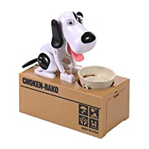 Liberty Imports Dog Piggy Bank Automated Cute Puppy Coin Bank (Black+White)