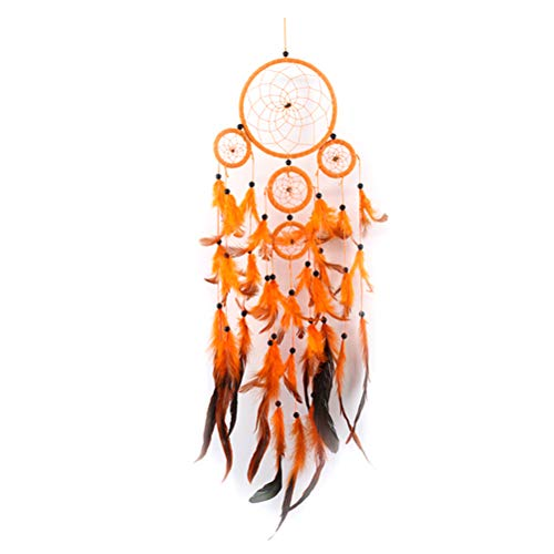 VORCOOL Orange Dream Catcher Handmade Dreamcatcher with Feather Wall Hanging Home Car Decor Mascot Gifts