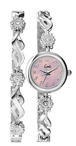 Limit-Reloj-para-mujer-de-cuarzo-con-esfera-analgica-rosa-y-pulsera-de-plata