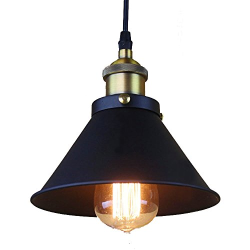 ZHMA Industrial Edison Style Pendant Lights,Hanging Retro Vintage Style,Black Metal Shade Ceiling Light,barn Light,for Kitchen Island,Dining Room,Bars,Warehouse,E26/E27 Base