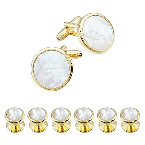 - HAWSON Mother of Pearl Man Tuxedo Shirt Studs and Cufflinks Set for Wedding Business (Gold Tone- MOP)