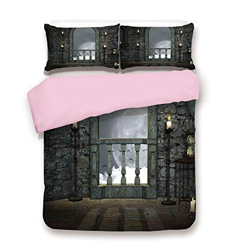 iPrint Pink Duvet Cover Set,King Size,Full Moon Birds Fairytale Fantasy Old Castle Balcony Candle Lights Night View Art,Decorative 3 Piece Bedding Set with 2 Pillow Sham,Best Gift for Girls Women,