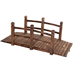 5' Wooden Garden Bridge Pond Creek Backyard Arch Archway Walkway Decorative Patio Outdoor Furniture Fir Wood With Stained Finish Strong Construction Solid Arch Frame