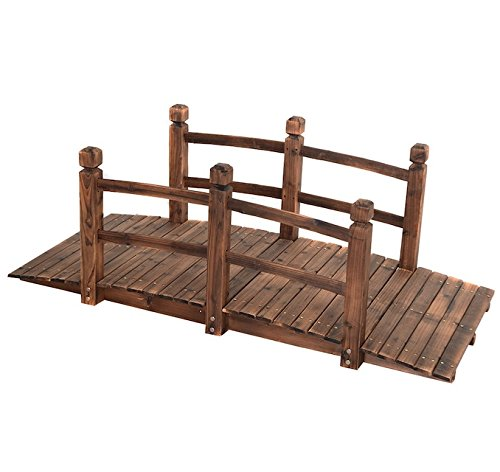 5' Wooden Garden Bridge Pond Creek Backyard Arch Archway Walkway Decorative Patio Outdoor Furniture Fir Wood With Stained Finish Strong Construction Solid Arch Frame (Walkways For Garden Wooden)