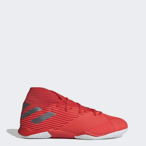 adidas Men's Nemeziz 19.3 Indoor Soccer Shoe, Active Silver Metallic/Solar Red, 8.5 M US
