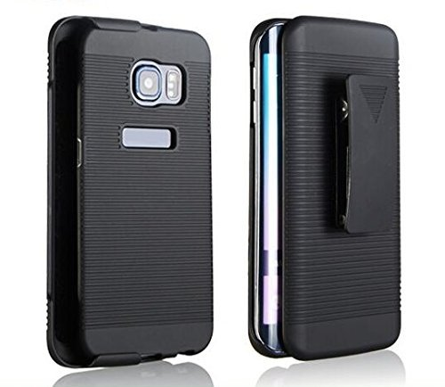 Rubberized Shield Case Protector Black (Microseven Samsung Galaxy S6 Edge Case Cover, BLACK RUBBERIZED COVER HARD BELT CLIP HOLSTER CASE +Clear LCD Screen Protector Shield Guard+1 Touch Screen Stylus with M7 Packaging (Slim Shell Holster))