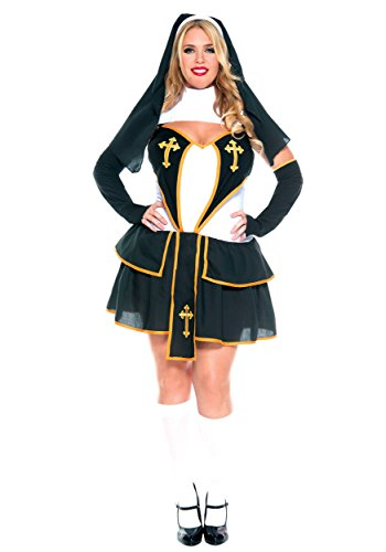 Music Legs Women's Plus-Size Flirty Nun, Black/White/Gold, 3X-4X