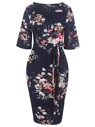 Sakaly Womens Dresses Summer Casual O-Neck Floral Print Belted Dress SK301 (XL, - Printed Sheath Dress Belted