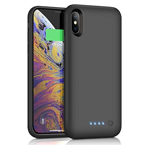 iPhoneX/XS/10 대응 배터리 케이스 6500mAh 대용량 배터리 내장 케이스 iPhoneXS/X/10 대응 충전 케이스 아이 폰X/XS/10 적응 battery case 5.8인치용흑