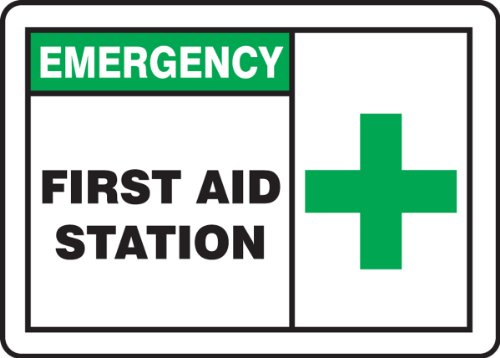 First Aid Station Sign (Accuform Signs MFSD926VP Plastic Safety Sign, Legend EMERGENCY FIRST AID STATION with Graphic, 7