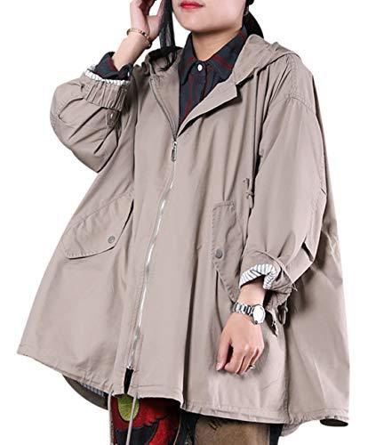 Trench Casual Zip Wg3 Coat Skirt Hemline Size Hooded Khaki Plus Yesno Cotton Anorak Full Women Loose Jacket WG3 YHwaEqZ
