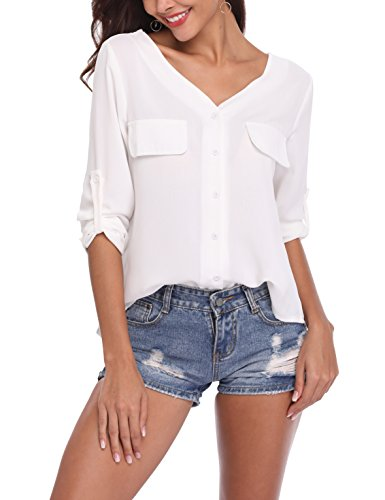 LYHNMW Womens Casual V Neck Chiffon Blouses Roll-up Long Sleeve Button Down Shirts Tops Front Pockets … White ()