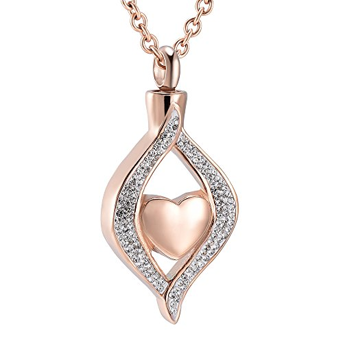 The Eye of my Heart Cremation urn Keepsake Memorial Jewelry for Urn Locket Stainless steel Ashes Pendant & Free 20 Inches Chain (Rose (Industries Urn)