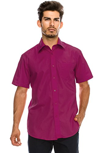 Men's Regular-Fit Solid Color Short Sleeve Dress Shirt, Magenta Shirts - Color Shirt Magenta