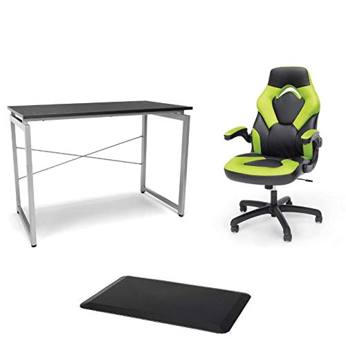 OFM 3 Piece Complete Set with Green Gaming Chair and Desk and Floor Mat OFM