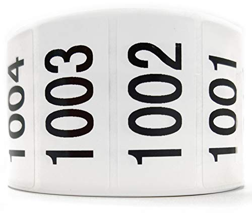 Enzo Consecutively Numbered Sticker Labels 1.5 x 0.75 Water Proof Oil Resistance from Serial Number 1001 to 2000 1.7 Core Roll
