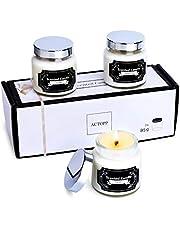 ACTOPP Set di 3 Candele Profumate Piccole Candela Profumata alla Vaniglia tè per Regalo Yoga Relax Festa Decorazione
