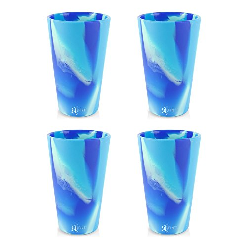 Silipint Silicone Pint Glass Set, Patented, BPA-Free, Shatter-proof Silicone Cup Drinkware (4-Pack Arctic Sky)