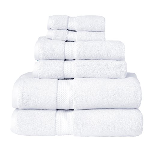 (Blue Nile Mills 6-Piece Towel Set, Premium Long-Staple Cotton, 900 GSM, White)