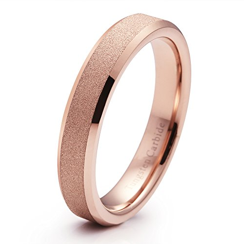 Band Wedding Braided Ring Wide - 4mm Tungsten Carbide Wedding Band Rose Gold Plated Engagement Ring Beveled Edge(6)