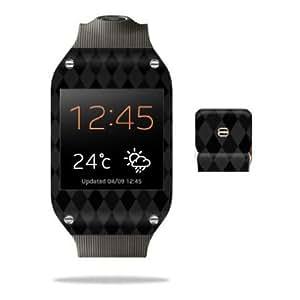 Cerhinu Protective Vinyl Skin Decal Cover for Samsung Galaxy Gear Watch Sticker Skins Black Argyle
