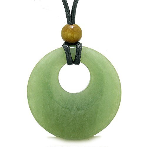Amulet Large Medallion Circle Coin Shaped Donut Protection and Magical Powers Green Quartz Charm Necklace