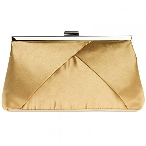 CASPAR TA320 Bolso de Mano Fiesta para Mujer / Clutch de Satén con Diseño Elegante - Varios Colores Oro