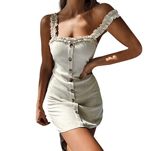 (Cenglings Sexy Womens Strap Slip Ruffle Gingham Button Up A-Line Sleeveless Mini Dresses Slim Fit Backless Bandage Mini Dress Beige)