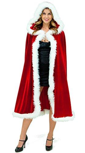 Da Velluto Vogue Costume Natale Rosso La mantello Cappuccio Donna Con 6ZUqI