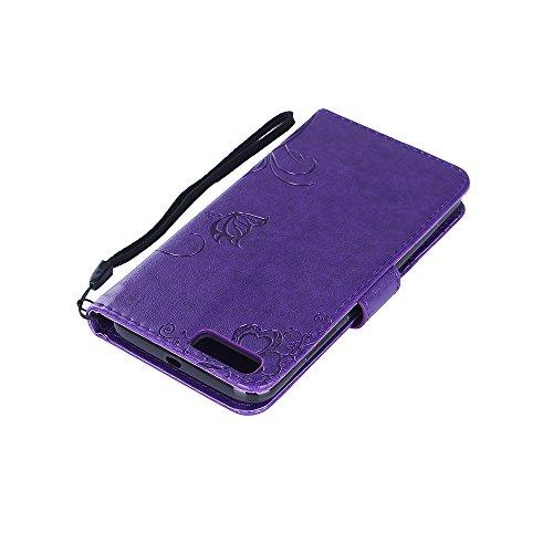 Ecoway Para Xiaomi Mi 6 funda, (la luz roja) gofrado cuero de la PU Leather cubierta ,Función de Soporte Billetera con Tapa para Tarjetas correa de mano soporte para teléfono Deep Purple
