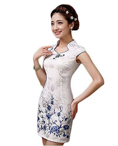 EXCELLANYARD Women's Cotton Chinese Qipao Cheongsam Dress 2 (Chinese Dress Traditional)