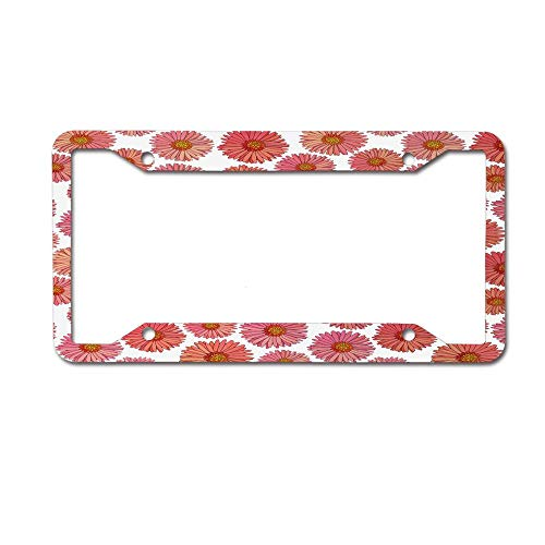 - Dinzisalugg Custom Aluminum Metal License Plate Frame Tag Holder Cute,Pink Blooms Flower Field Essence Fragrance Mother Nature Tropical Flourish License Plate Frame 4 Holes and Screws